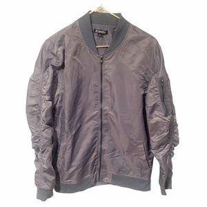 Elwood Grey Ruched Sleeve Mens Full Zip Jacket L
